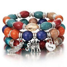 5962a8e25a Boho Chic Natural Stone Bead   Charm Bracelet Bangle Sets (19 Styles).  Fashion High Quality Boho Bracelets   Bangles Women Beaded Bracelet With  Colorful Gem ...