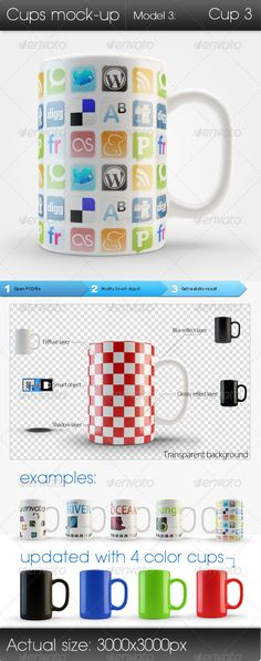 A great view of  multiple mugs that showcase diffeerent designs. There is a sense of depth, color, and lighting no matter the design. Obviously it can be customized, creating a whole new feel to the mug. Great representaion of a personalized item.