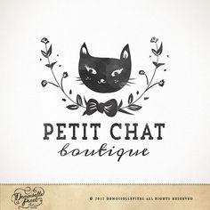 Modern Watercolor Cat Premade Logo / hand drawn wreath cat design / Boutique, Photography via Etsy
