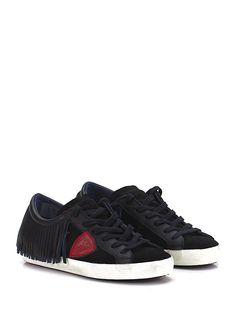 PHILIPPE MODEL PARIS - Sneakers - Women - Sneaker in camoscio e pelle con frange su retro e suola in gomma. Tacco 30. - BLACK\RED - € 280.00