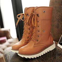 Big Size Multi-Way Button Warm Fur Lining Lace Up Flat Boots - Gchoic.com #shoes #women #popular #fashion #discount #cheap #want Pinterest