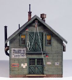 Clapboard Siding, Green Paintings, White Letters, Paint Schemes, Model Building, Painted Signs, Second Floor, Scale Models, That Way
