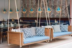 Classified Repulse Bay — Hong Kong, China A Pair Of Swinging Sofas Greet You At This Restaurant Restaurant Bar, Outdoor Restaurant Patio, Decoration Restaurant, Outdoor Cafe, Restaurant Interior Design, Restaurant Furniture, Restaurant Seating, Outdoor Lounge, Outdoor Hanging Chair