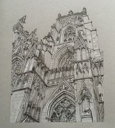 "5,055 curtidas, 60 comentários - Phoebe Atkey (@phoebeatkey) no Instagram: ""Here's an old drawing from 2015 - York Minster in pen and white pencil. #art #drawing #pen #sketch…"""