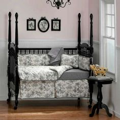 Black & White Toile Nursery Bedding with soft pink walls