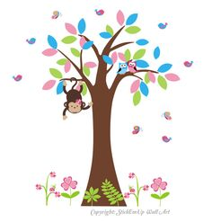 Tree Wall Decal with MonkeyOwls Birds by StickEmUpWallArt on Etsy, $125.00