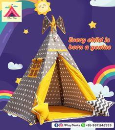 Baby Tent, Kids Teepee Tent, Play Tents, Sleepover Party, Slumber Parties, Childrens Tent, Small Shark, Bamboo Poles, Orange Chevron