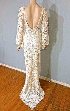 Boho WEDDING Dress Cream Backless LACE Wedding by MuseClothing