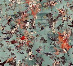 Hirondelles by Jean Paul Gaultier - Ete - Wallpaper : Wallpaper Direct Jean Paul Gaultier, Main Image, Wallpaper Stickers, Designer Wallpaper, Wallpaper Designs, Inspirational Artwork, Flower Wallpaper, True Colors, Pattern Design