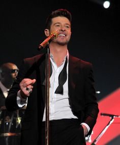 "Robin Thicke performs on ""The GRAMMY Nominations Live!! — Countdown To Music's Biggest Night"" on Dec. 6 in Los Angeles"