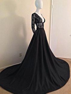 Deep V Neck Prom Dress,Floral Prom Dress,Long Sleeve Prom Dress,Fashion Prom Dress,Sexy Party Dress, New Style Evening Dress