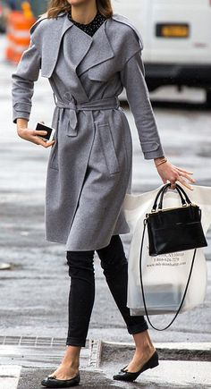 Classic grey belted coat