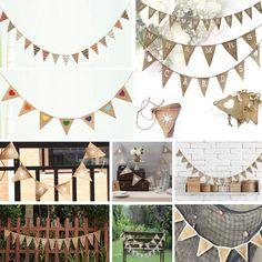 Vintage Shabby Hessian Burlap Banner Rustic Wedding Bunting Party Xmas Decor