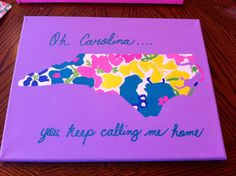 North Carolina Lilly Pulitzer Inspired Canvas by TheCarolinaCanvas