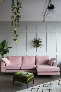 velvet sofas and panelled walls are very 2018  Nice design.  Pink & Gray.  Soft textiles.  D.Martin
