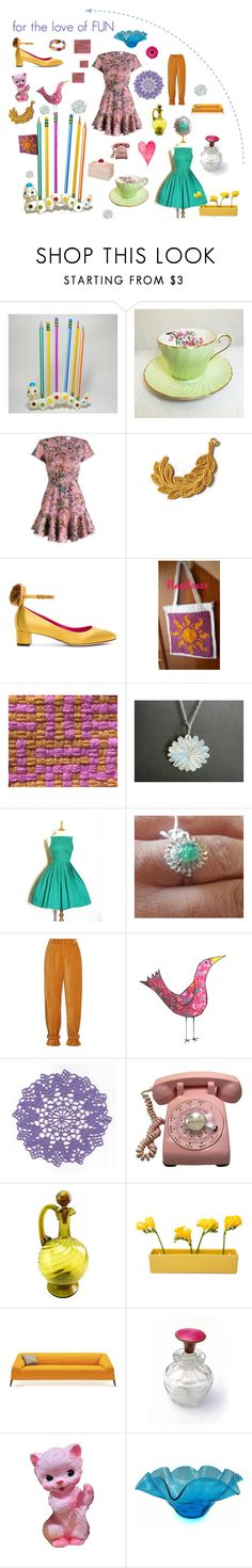 """love FUN"" by seasidecollectibles ❤ liked on Polyvore featuring Aynsley, Zimmermann, Oscar Tiye, Hillier Bartley, Dot & Bo, Blenko and vintage"