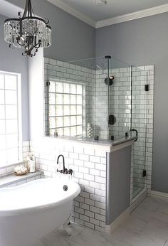 master bath remodel, bathroom ideas, home improvement, Who doesn t love a glitzy chandelier