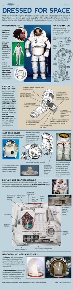 Infographic: How NASA Spacesuits Work: EMUs Explained - How space suits keep astronauts alive. Earth Science, Science And Nature, Science Experience, Space Race, Space And Astronomy, Nasa Space, Space Program, Space Station, Space Shuttle