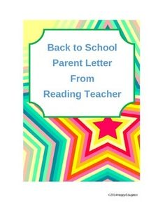 Back To School Letter From A Reading Teacher