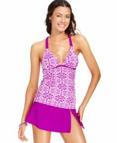 Hula Honey Printed Macrame Racerback Tankini Top Women's Swimsuit Women Women's Clothing - Swimwear #spandex #coupons #swimwear