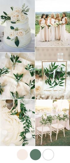 simple elegant blush olive greenery wedding color ideas 2017