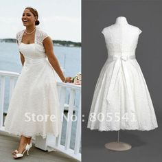 Plus Size Wedding Dresses Lace Jacket. Love Tea Length, would have the Jacket attached.