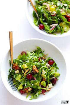 Gimme Some Oven | Grape, Avocado and Arugula Salad | http://www.gimmesomeoven.com