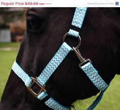ON SALE Chevron Horse Halter - Light Blue and White Chevrons on Etsy, $35.99