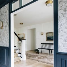 Modern Farmhouse Foyer by Kenowa Builders, Modern Neutral Front Entry Design, wall paneling, modern dining room with wallpaper Hallway Designs, Foyer Design, House Design, Modern Foyer, Modern Decor, Decor Interior Design, Interior Decorating, Entry Furniture, Room Makeovers