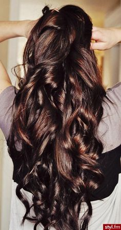 Gorgeous long Brunette Hair! I would sell my soul for this!