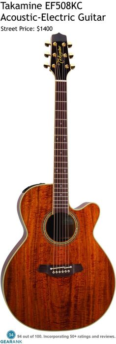 Takamine EF508KC Acoustic-Electric Guitar.  The stand-out feature of the EF508KC is that it is made from Figured Koa on the top and the body.  For a detailed guide to acoustic guitars see https://www.gearank.com/guides/acoustic-guitars