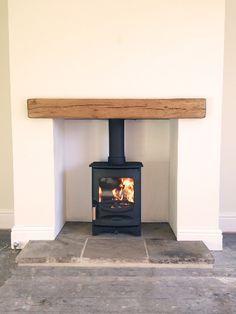 C-Four, oak fireplace beam, reclaimed Yorkshire stone hearth.Charnwood C-Four, oak fireplace beam, reclaimed Yorkshire stone hearth. Wood Burner Fireplace, Small Fireplace, Fireplace Hearth, Wood Mantle, Wood Burner Stove, Floating Fireplace, Cottage Fireplace, Fireplace Shelves, Shiplap Fireplace