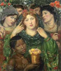 The Beloved is a painting by Pre-Raphelite artist Dante Gabriel Rossetti depicting a bride in the biblical Song of Solomon. Rossetti shows her transfixing the viewer with her direct gaze and the power of her beauty surrounded by figures and flowers. Dante Gabriel Rossetti, John Everett Millais, John William Waterhouse, Pre Raphaelite Paintings, Art Magique, Lawrence Alma Tadema, Pre Raphaelite Brotherhood, Edward Burne Jones, Tate Gallery