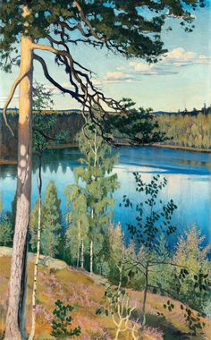 """""""Väinö Blomstedt (Finnish, Lake in the wilderness, Oil on canvas, 103 x 64 cm. Landscape Art, Landscape Paintings, Honduras Travel, National Gallery, Lake Painting, Watercolor Trees, Classical Art, Western Art, Botanical Art"""