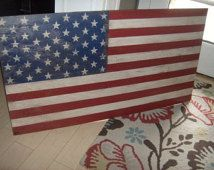 """Vintage look Distressed American Flag Wall decor-Light Distressed-46"""" x 25""""/patriotic/red whit blue"""