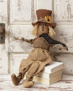 Scarecrow Doll Holding Crow Fall Decoration