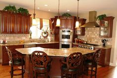 Traditional Kitchen with Kitchen island, Travertino Noce 4 in. Kitchen Island With Bench Seating, Kitchen Island With Granite Top, Corner Sink Kitchen, Kitchen Island Decor, Kitchen Island With Seating, New Kitchen Cabinets, Granite Kitchen, Kitchen Islands, Kitchen Ideas