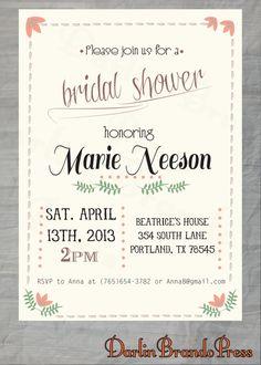 Bridal Shower Invitation by DarlinBrandoPress