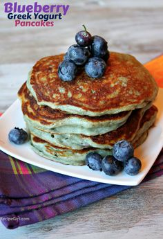 Greek Yogurt Pancakes--very good and easy.. cant wait to try different yogurt flavors!