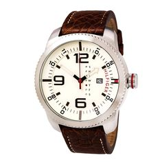 Tommy Hilfiger 1791013 Men's Graham Beige Dial Brown Leather Strap Watch