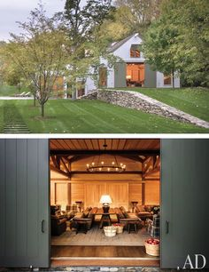 The trio of architect Paul F. Shurtleff, interior designer Thad Hayes, and landscape specialist Douglas Reed joined forces to create this outbuilding for a home they designed in upstate New York. The exterior resembles traditional farmhouses in the area, with a fieldstone wall, barn doors, and a sloping shed roof. The interior, meanwhile, is filled with modern luxuries, including a pool, a gym, a spa, and a guest studio. The media room, shown here, is used for casual movie-screening…
