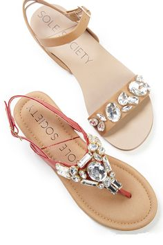 Bejeweled flat sandals for spring & summer