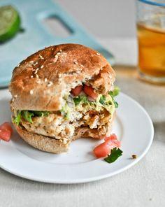 tilapia burgers w/watermelon salsa & avocado.i don't eat those poop-eaters [tilapia] Healthy Burger Recipes, Fish Recipes, Seafood Recipes, Great Recipes, Cooking Recipes, Favorite Recipes, Tilapia Recipes, Cooking Fish, Hamburger Recipes