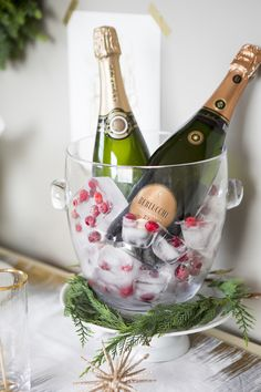 cranberry ice cubes are a gorgeous and easy DIY detail for a holiday champagne bar