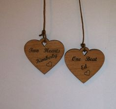 Personalized engraved wood  hanging heart set by MLSLaserEngraving