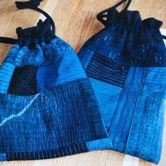 刺し子野良着のハギレを縫い合わせた巾着袋です。 #古布  #藍  #木綿  #絣  #襤褸#ボロ#BORO#野良着 #刺し子 #リメイク  #ハンドメイド