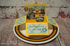"""Lawn Fawn """"Love 'n breakfast"""" and  """"Sharp backdrops"""" stamps and """"Scalloped box card pop-up"""" dies."""