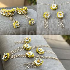 Flower Jewellery For Mehndi, Flower Jewelry, Jewelry Crafts, Handmade Jewelry, Gold Jewelry Simple, Flower Ornaments, Thread Jewellery, Floral Necklace, Indian Jewelry