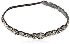 Deepa Gurnani Hand Embroidered Black and Silver Elasticated Headband