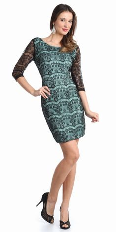 #lacedress 3/4 Sleeve Lace Cocktail Dress Dresses Under 100. #cocktail #cocktaildress #holidaydresses